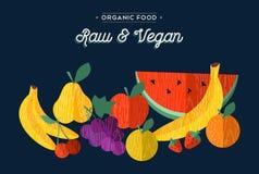 Ilustração orgânica do conceito do alimento do vegetariano dos frutos Fotos de Stock Royalty Free
