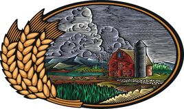 Ilustração orgânica do vetor da exploração agrícola no estilo do bloco xilográfico Foto de Stock