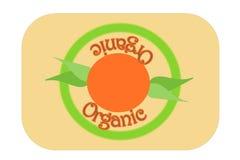 Ilustração orgânica verde do selo da etiqueta com sol e folhas da manhã foto de stock royalty free