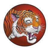 Ilustração oriental do vetor do círculo do tigre Fotografia de Stock Royalty Free