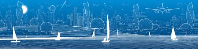 Ilustração panorâmico da infraestrutura futurista da cidade Mosca do avião Cidade da noite no fundo Iate da navigação na água Lin ilustração do vetor