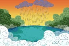 Ilustração para crianças: Chove acima de um lago dentro da floresta! ilustração royalty free