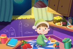 Ilustração para crianças: O menino com fome obtém rouba até algum alimento na noite, mas foi travado no ato! ilustração stock
