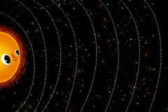 Ilustração para crianças: Os planetas felizes no sistema solar Fotografia de Stock Royalty Free