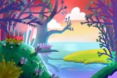Ilustração para crianças: Um campo de grama verde pequeno dentro da floresta mágica pelo beira-rio ilustração royalty free