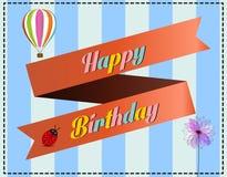 Ilustração para o cartão do feliz aniversario Imagens de Stock Royalty Free