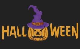 Ilustração para o Dia das Bruxas, o chapéu da bruxa e a abóbora Ilustração Stock