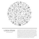 Ilustração para o projeto com flores desenhados à mão Formulário redondo ilustração royalty free