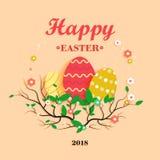 Ilustração para a Páscoa com ovos, ramos de árvore e as flores coloridos Fotografia de Stock