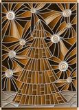 A ilustração pelo ano novo, árvore do vitral de Natal em um fundo do céu estrelado, tonifica o marrom, sepia ilustração do vetor