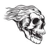 Ilustração peludo do crânio do vintage ilustração do vetor