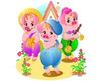 Ilustração pequena cor-de-rosa bonito pequena dos porcos Foto de Stock Royalty Free