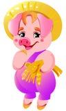 Ilustração pequena cor-de-rosa bonito pequena dos porcos Fotos de Stock