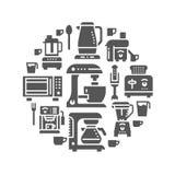 Ilustração pequena da bandeira do equipamento dos dispositivos da cozinha Vector os ícones do glyph do agregado familiar que cozi Imagem de Stock