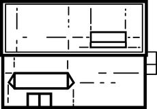 Ilustração pequena da construção de loja - linhas limpas ilustração stock