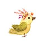 Ilustração pequena das crianças do pássaro da floresta da aquarela Imagens de Stock Royalty Free