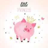 Ilustração pequena do vetor do porco da princesa ilustração royalty free