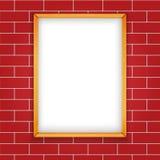 Ilustração Picrute vazio de madeira do vetor no fundo sem emenda da parede de tijolo Fotografia de Stock