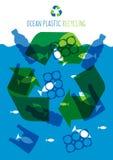 Ilustração plástica do vetor da poluição do oceano ilustração stock