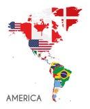 Ilustração política do vetor do mapa de América com as bandeiras de todos os países ilustração stock