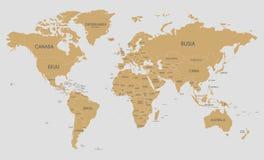 Ilustração política do vetor do mapa do mundo com nomes de país no espanhol ilustração royalty free
