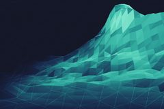 Ilustração poli da paisagem 3d da geometria de Digitas baixa Fotografia de Stock Royalty Free