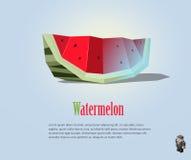Ilustração poligonal de PrintVector da fatia da melancia, baixo ícone poli moderno do alimento Imagens de Stock Royalty Free