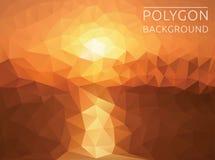 Ilustração poligonal do por do sol Imagens de Stock