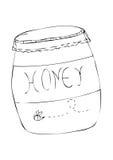 Ilustração preta de um frasco do mel Fotografia de Stock