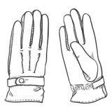 Ilustração preta do esboço do vetor - luvas de couro clássicas Imagens de Stock Royalty Free