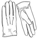 Ilustração preta do esboço do vetor - luvas de couro clássicas Foto de Stock