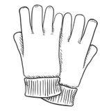 Ilustração preta do esboço do vetor - luvas ocasionais de matéria têxtil Fotografia de Stock