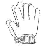 Ilustração preta do esboço do vetor - luvas ocasionais de matéria têxtil Imagens de Stock Royalty Free