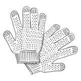 Ilustração preta do esboço do vetor - luvas para o trabalho Fotos de Stock Royalty Free