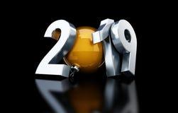 Ilustração preta do fundo 3D do ano novo feliz 2019, rendição 3D Fotos de Stock
