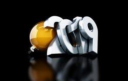 Ilustração preta do fundo 3D do ano novo 2019, rendição 3D Fotografia de Stock