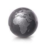 A ilustração preta Europa e África do globo 3D do ferro traça Fotos de Stock Royalty Free