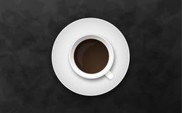 Ilustração preta luxuosa do vetor do fundo com copo de café Foto de Stock Royalty Free