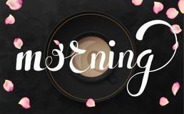 A ilustração preta luxuosa do vetor do fundo com copo de café e a manhã text Imagens de Stock Royalty Free