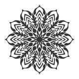 Ilustração preto e branco da folha floral da mandala Foto de Stock Royalty Free