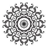 Ilustração preto e branco da folha floral da mandala Fotos de Stock Royalty Free