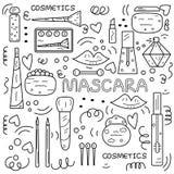 Ilustração preto e branco da garatuja com lotes dos cosméticos e do m ilustração stock
