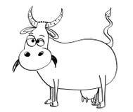 Ilustração preto e branco do desenho artístico do vetor da vaca Imagens de Stock
