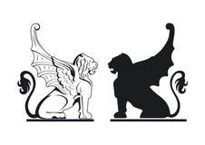 Ilustração preto e branco do grifo ilustração do vetor