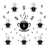 Ilustração preto e branco do vetor do dólar do teste padrão do copo ilustração do vetor