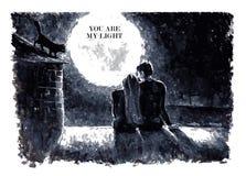 Ilustração preto e branco do vetor da aquarela Imagem de Stock Royalty Free