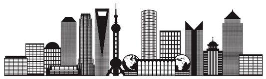 Ilustração preto e branco do vetor do esboço da skyline da cidade de Shanghai Imagem de Stock