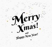 Ilustração preto e branco do vintage alegre do xmas para cumprimentos do Natal ilustração do vetor