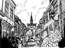 Ilustração preto e branco tirada mão de uma cidade Foto de Stock