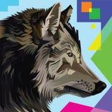 Ilustração principal do pop art do lobo Foto de Stock